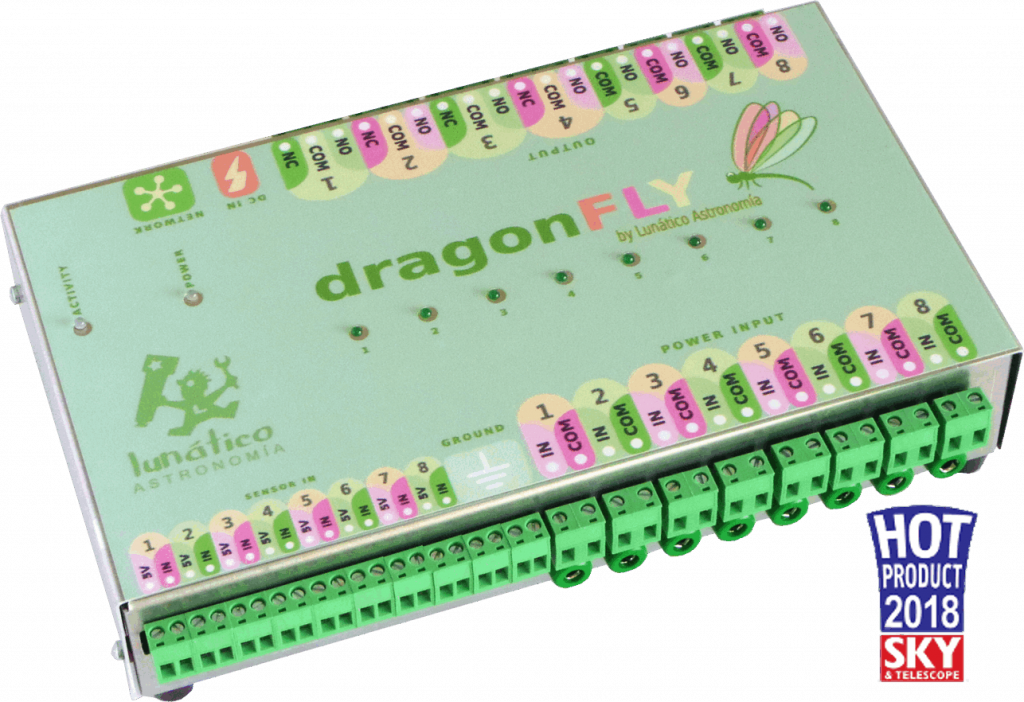Dragonfly, the Lunatico device to remotely control your roll-off roof observatory.