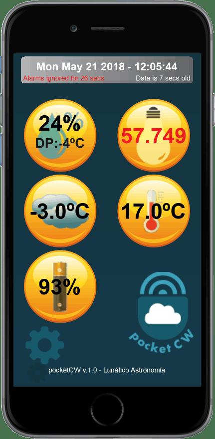 Pocket Cloudwatcher main screen