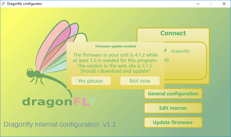 Dragonfly v.2.0 update firmware screen